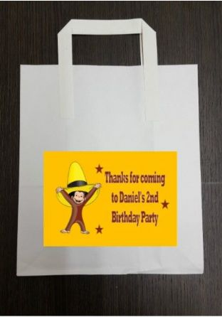 4 x Curious George Birthday Party Bags with Personalised Sticker